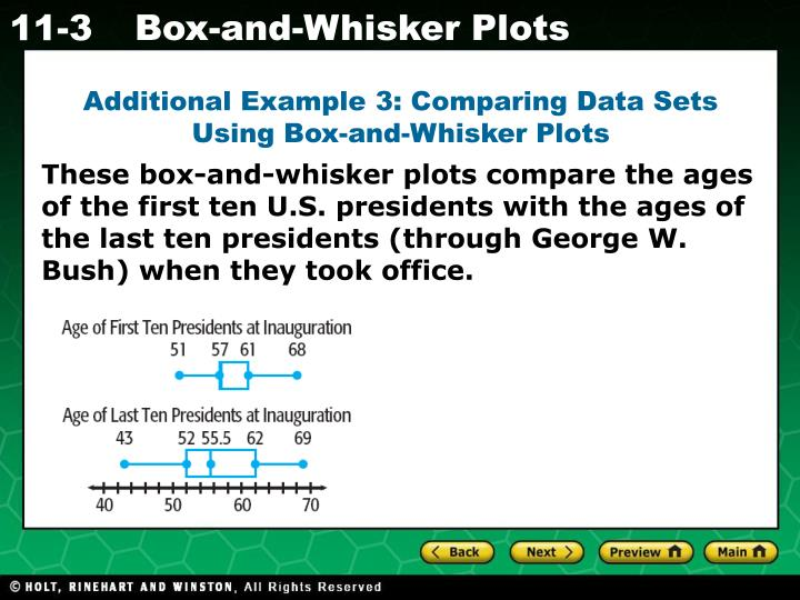 Additional Example 3: Comparing Data Sets Using Box-and-Whisker Plots