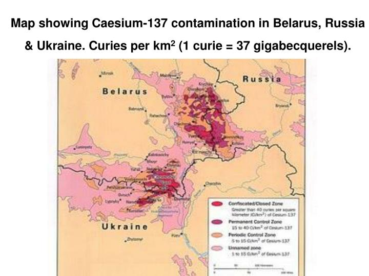 Map showing Caesium-137 contamination in Belarus, Russia & Ukraine. Curies per km