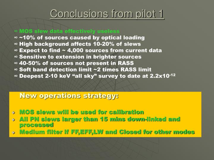 Conclusions from pilot 1