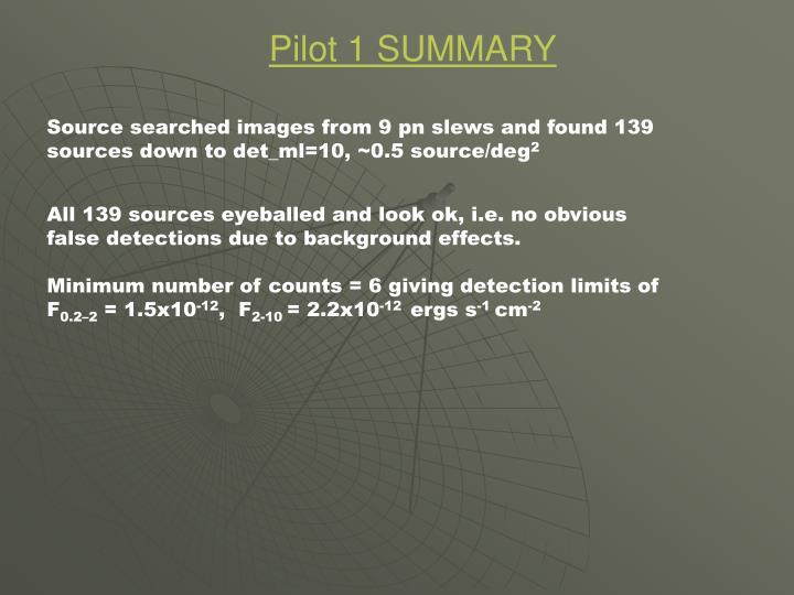 Pilot 1 SUMMARY