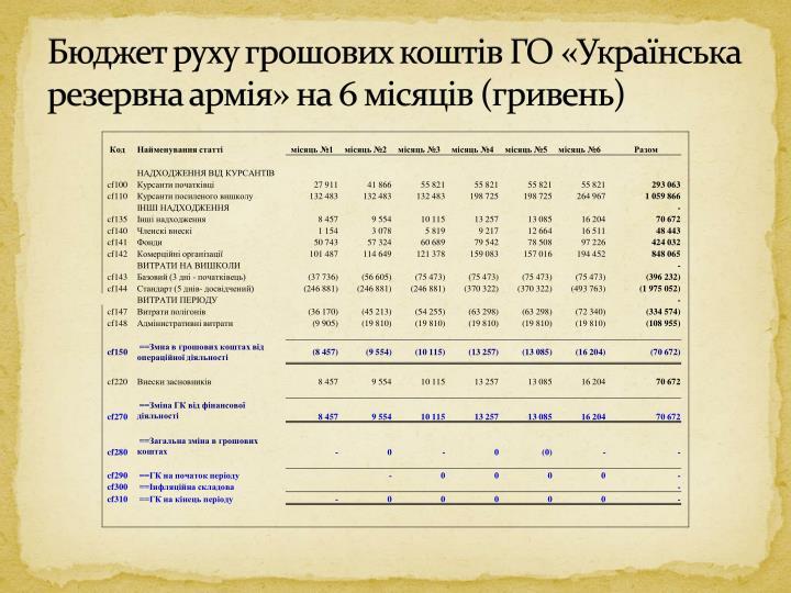 Бюджет руху грошових коштів ГО «Українська резервна армія» на 6 місяців (гривень)
