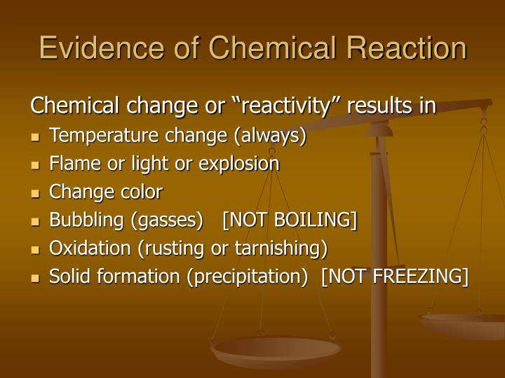 Evidence of Chemical Reaction