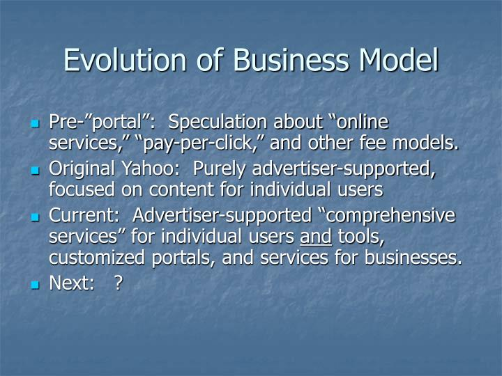 Evolution of Business Model