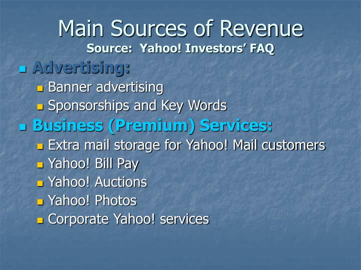 Main Sources of Revenue