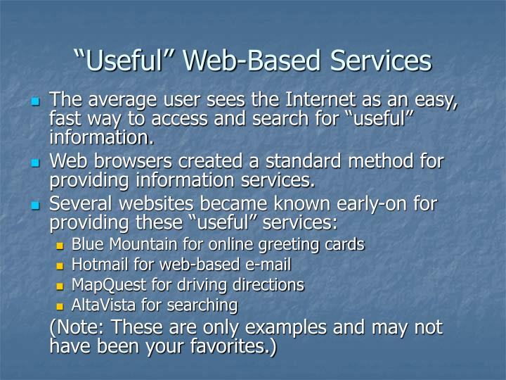 Useful web based services