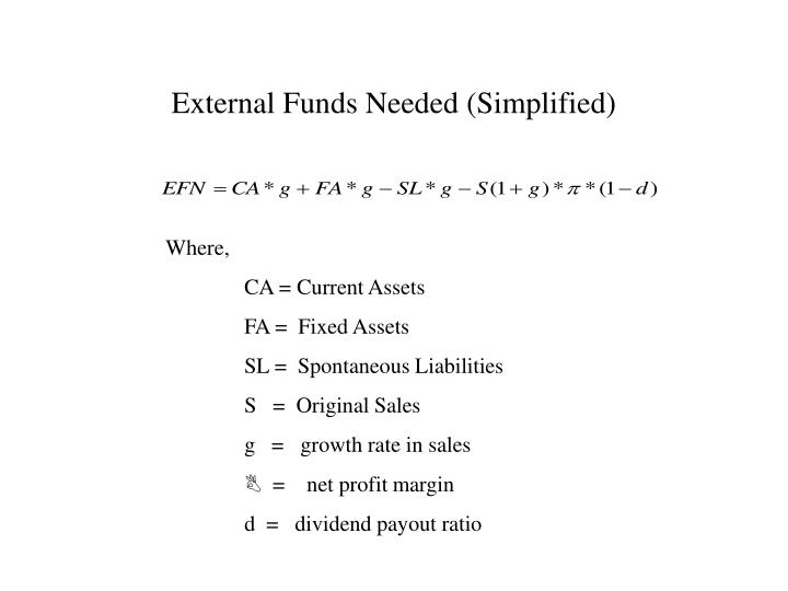 External Funds Needed (Simplified)