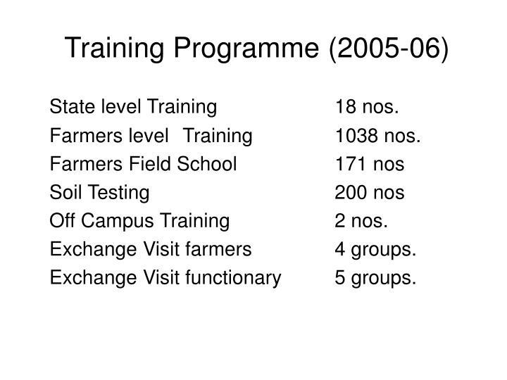 Training Programme (2005-06)