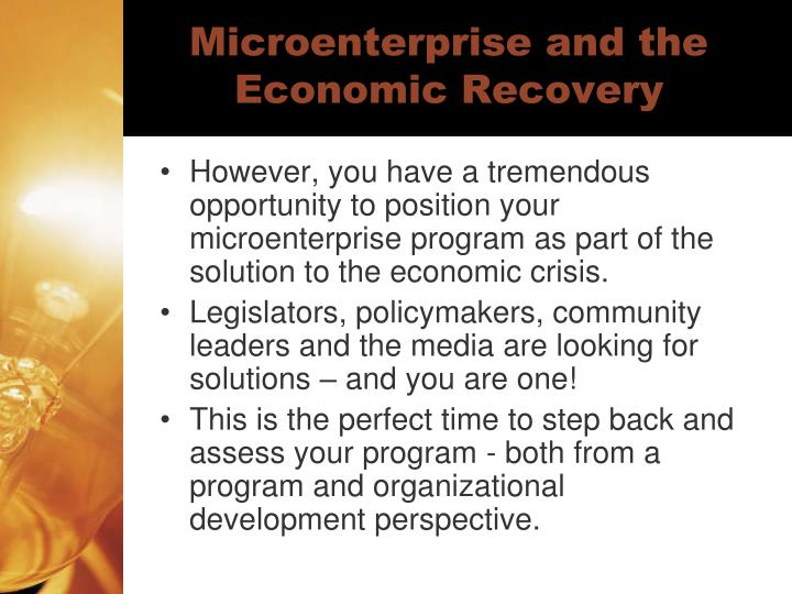 Microenterprise and the economic recovery