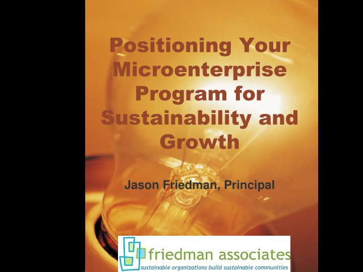 Positioning your microenterprise program for sustainability and growth
