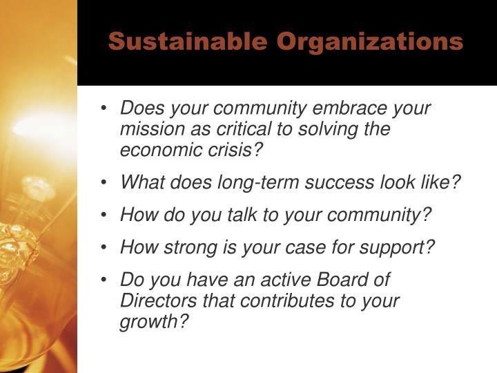 Sustainable Organizations