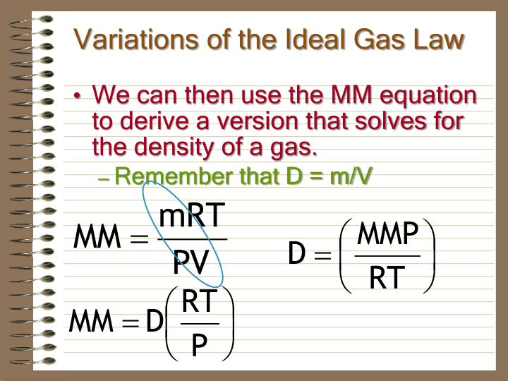 Variations of the Ideal Gas Law