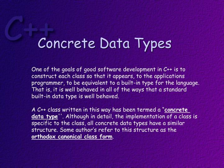 Concrete Data Types