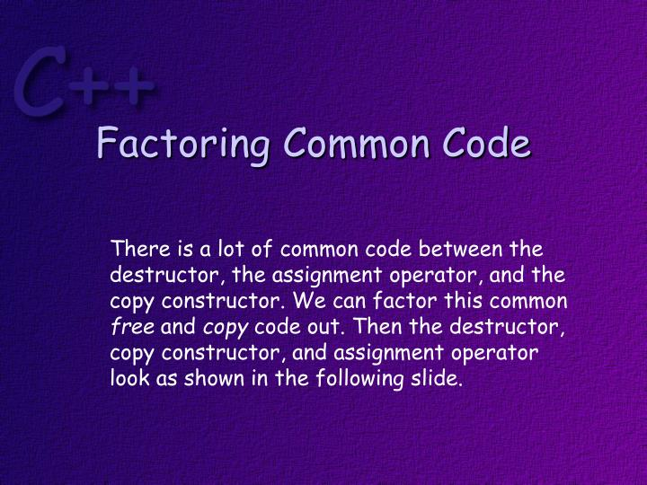 Factoring Common Code