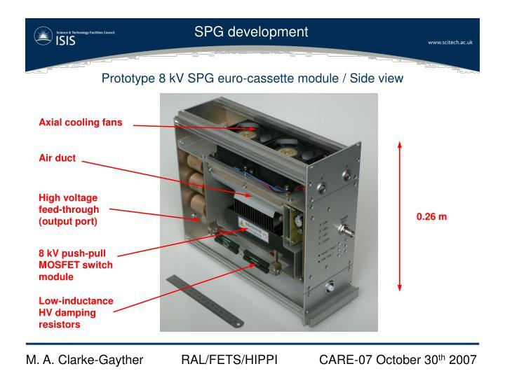 Prototype 8 kV SPG euro-cassette module / Side view