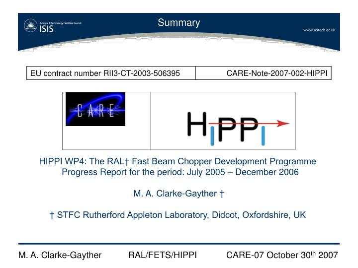 HIPPI WP4: The RAL† Fast Beam Chopper Development Programme