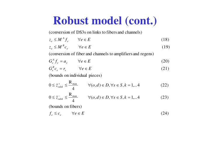 Robust model (cont.)