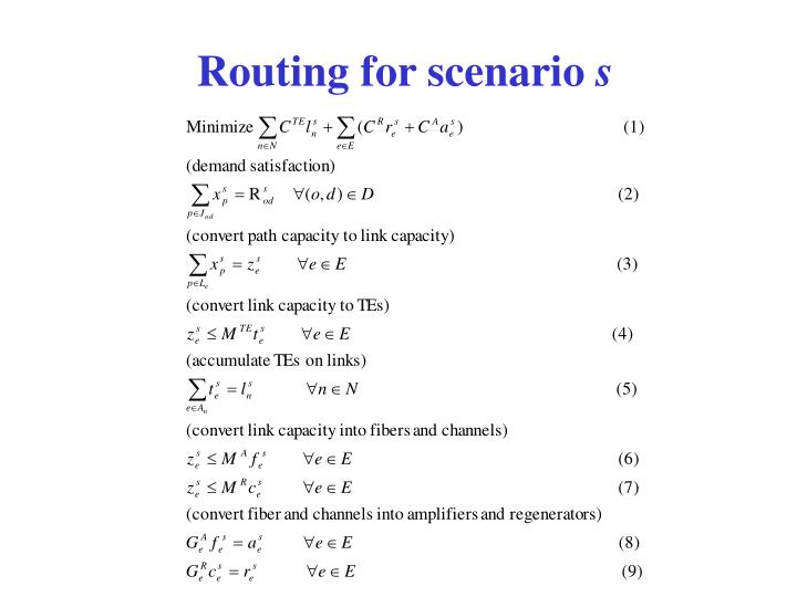 Routing for scenario