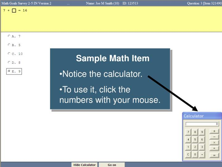 Sample Math Item
