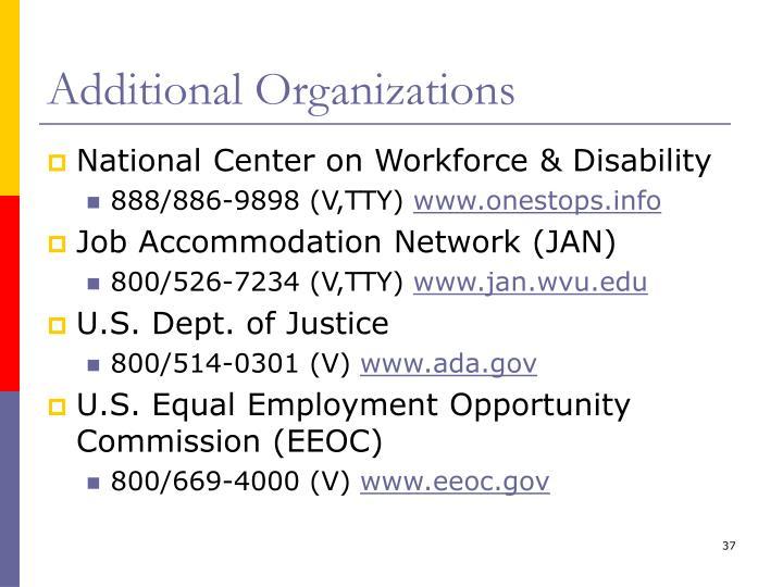 Additional Organizations