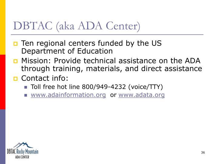 DBTAC (aka ADA Center)