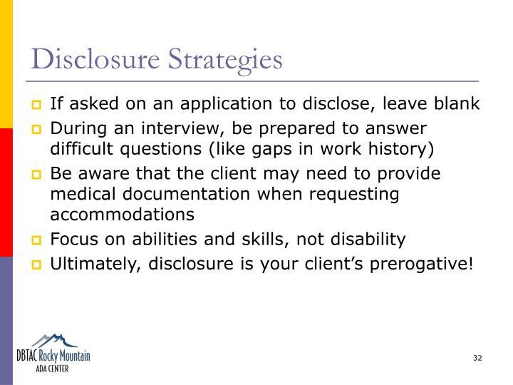 Disclosure Strategies