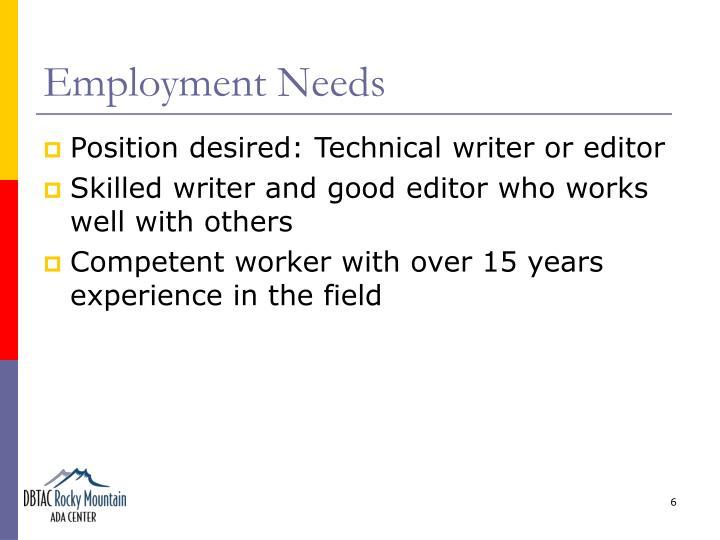 Employment Needs