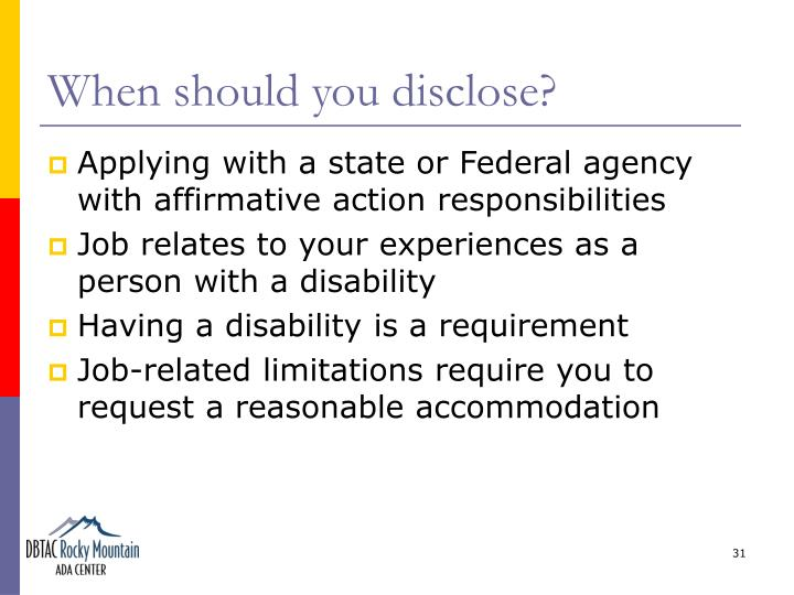 When should you disclose?