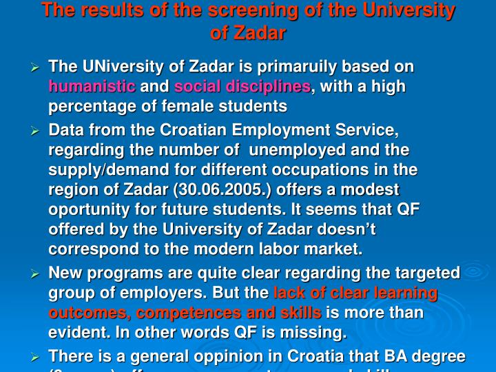 The results of the screening of the University of Zadar