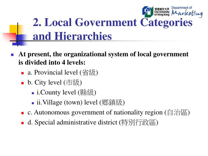 2. Local Government Categories and Hierarchies
