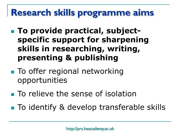Research skills programme aims