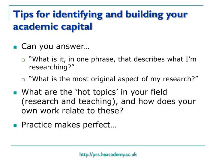 Tips for identifying and building your academic capital