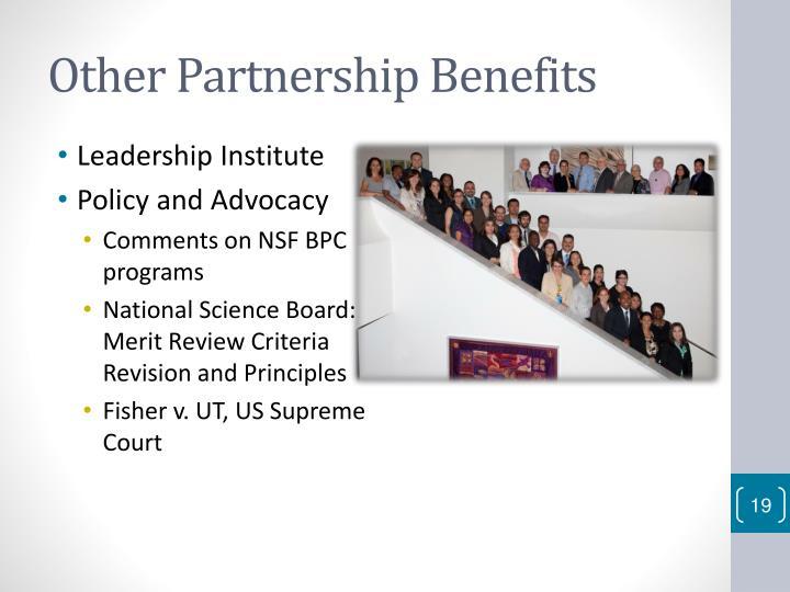 Other Partnership Benefits