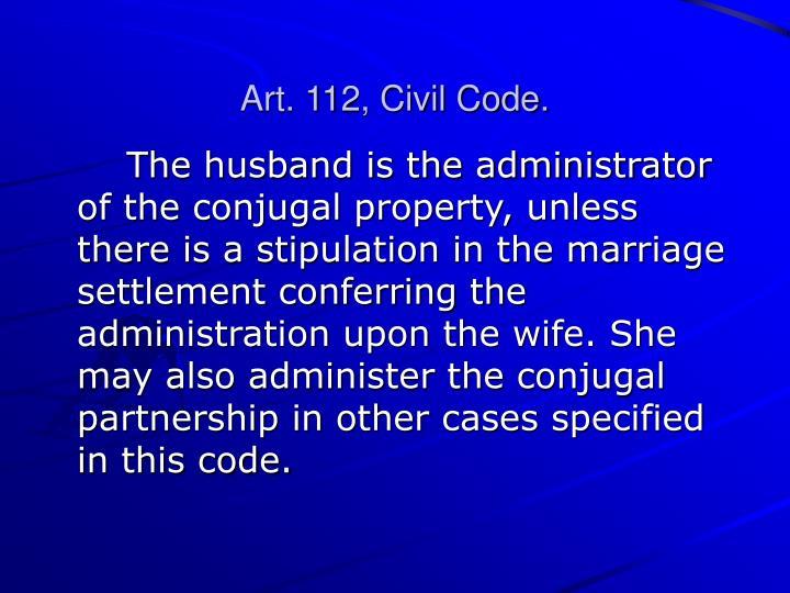 Art. 112, Civil Code.