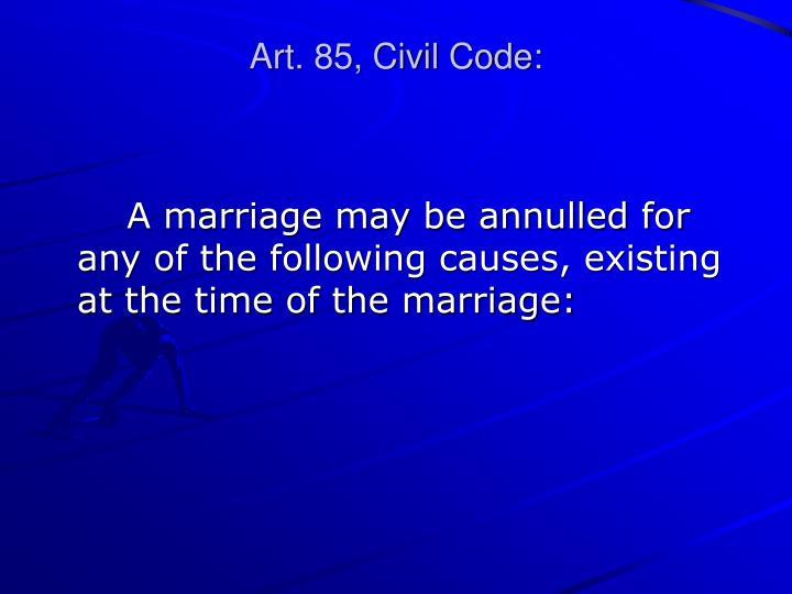 Art. 85, Civil Code: