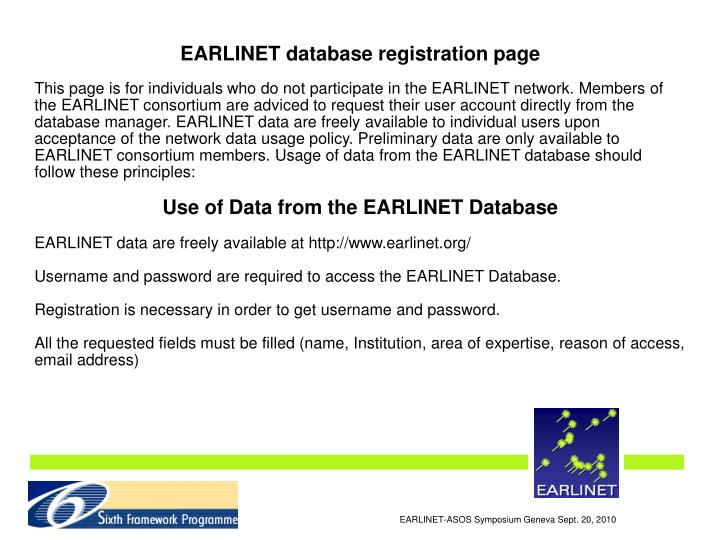 EARLINET database registration page