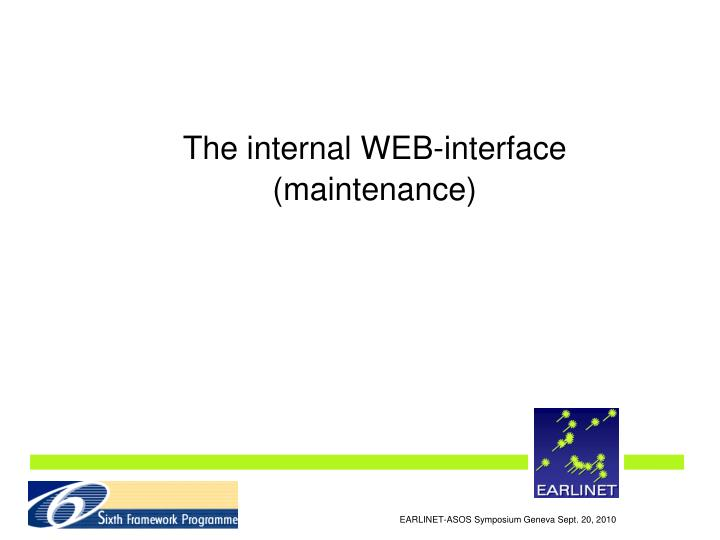 The internal WEB-interface