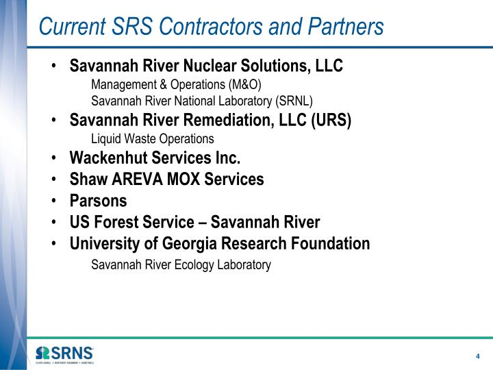 Current SRS Contractors and Partners