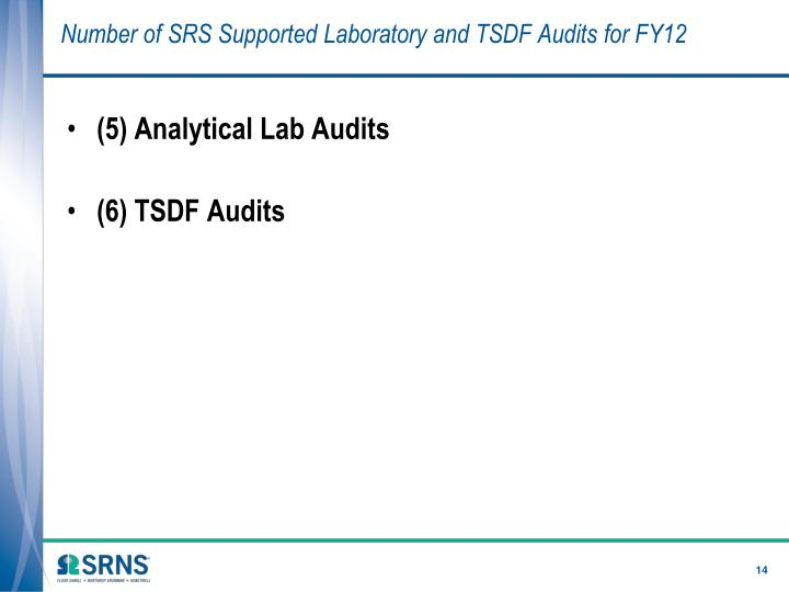 Number of SRS Supported Laboratory and TSDF Audits for FY12