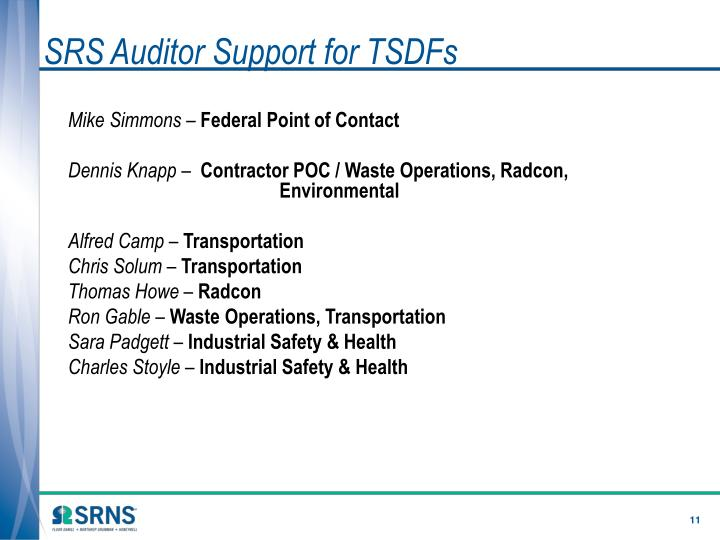SRS Auditor Support for TSDFs