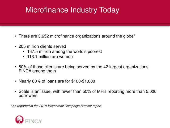 Microfinance Industry Today