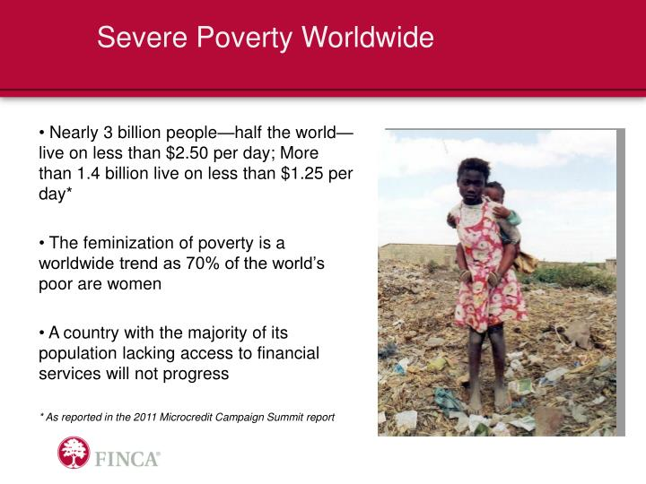 Severe poverty worldwide