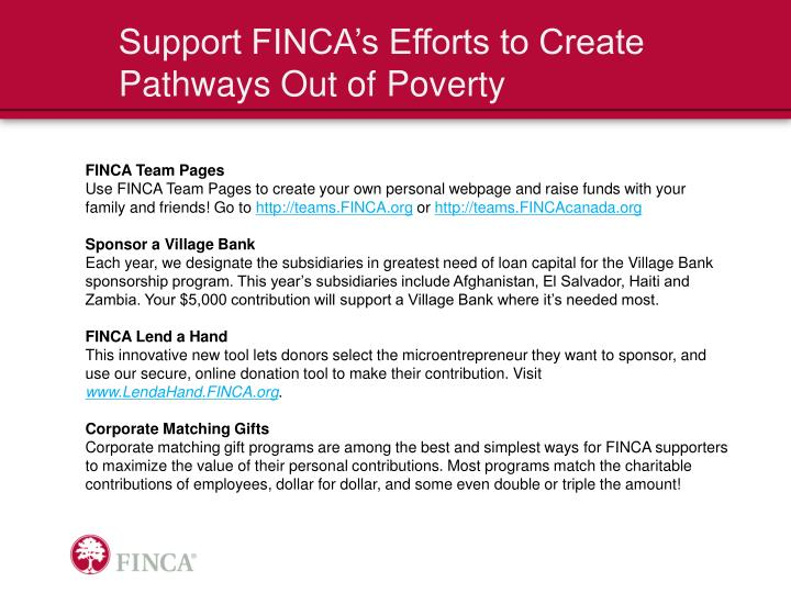 Support FINCA's Efforts to Create Pathways Out of Poverty
