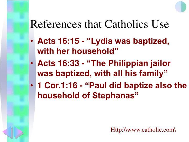 References that Catholics Use