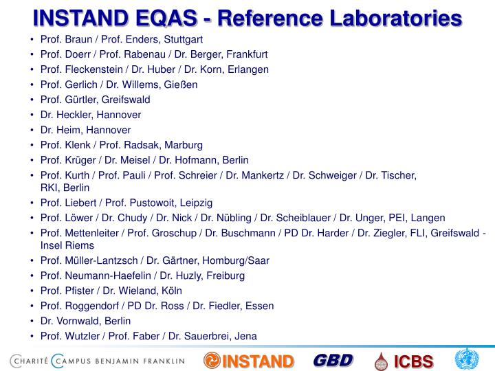 INSTAND EQAS - Reference Laboratories