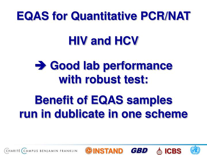EQAS for Quantitative PCR/NAT
