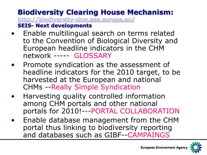Biodiversity Clearing House Mechanism: