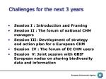challenges for the next 3 years