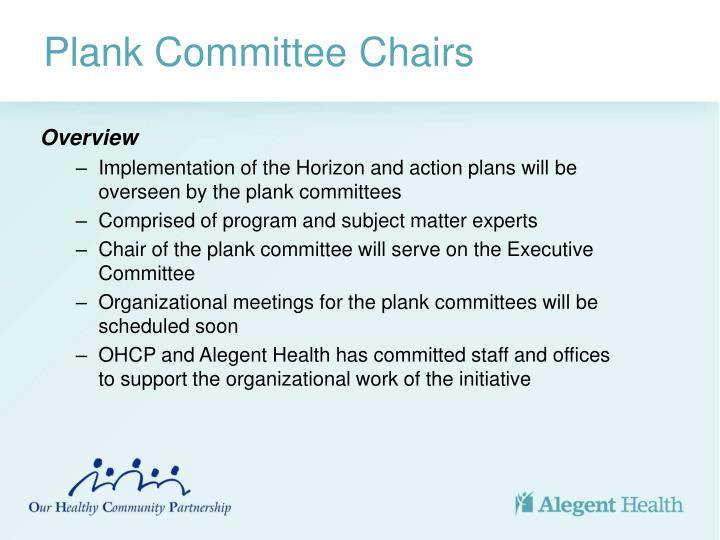 Plank Committee Chairs