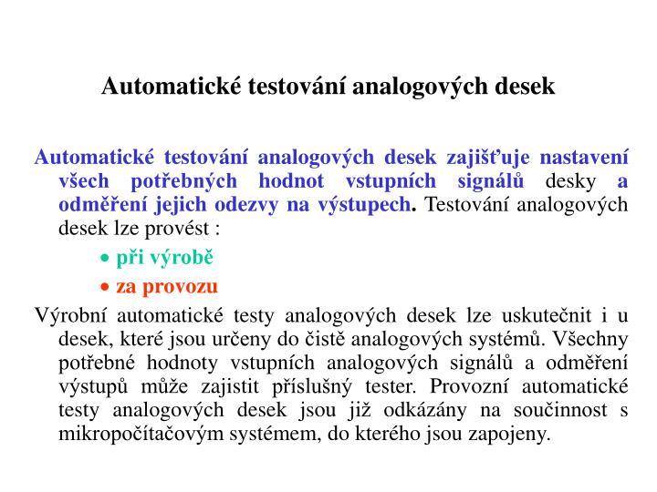 Automatické testování analogových desek