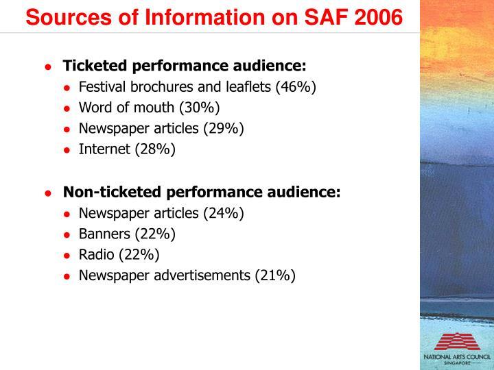 Sources of Information on SAF 2006